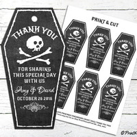 Halloween Thank You Tags // Personalized Printable Halloween Casket Engagement Party Thank You Tags // Halloween Tags // Thank You Tags