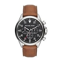 Michael Kors Mk8333 Chronograph Gage Luggage Leather Strap Watch