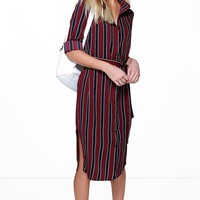 Shona Stripe Midi Shirt Dress
