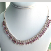 Rose Plum Crystals Sterling Silver Necklace