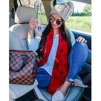 LV Louis Vuitton Classic Popular Women Men Cashmere Cape Scarf Scarves Shawl Accessories Red