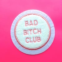 "sale- BAD BITCH CLUB Chenille 3.5"" Varsity Jacket Iron on Patch"