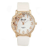 Selden Floral Rhinestone on a Womens White and Gold Tone Watch with Leather Band