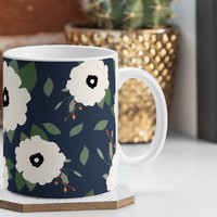 Navy Floral 12oz Coffee Mug / coffee mug design / navy blue and cream / floral mug / floral coffee mug / girly mug / floral pattern