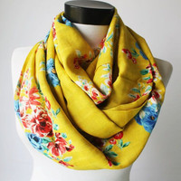 yellow flowers scarf,infinity scarf, scarf, scarves, long scarf, loop scarf, gift