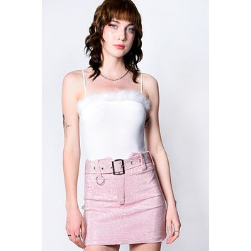 ECH Collection Stars Are Blind BB Pink Rhinestone Belted Skirt