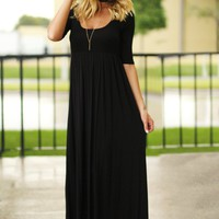 Black Casual Maxi Dress with 3/4 Sleeves