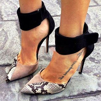 Snake print color matching hollow stiletto high heels versatile pointed high heel women's shoes