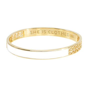 Strength and Dignity Bangle - White