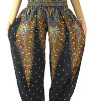 black boho pants beautiful peacock print design fabric :One size fits all Handmade Elastic waist ankle pants/harem pants/yoga pants