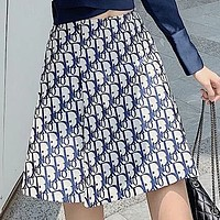 Hipgirls Dior summer new fashion wild retro letter embroidery skirt bag hip skirt high waist a-line skirt
