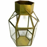 Antique Metal And Glass Lantern , Gold And Clear By Benzara