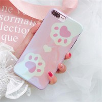 Laser Korean Cat Paw Lovely Soft Case Cover For iPhone X 7Plus 6s 8Plus