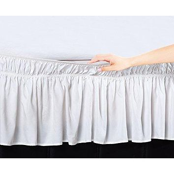 EasyWrap White Elastic Ruffled Bed Skirt with 16 inch  Drop - Queen/King