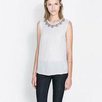 BLOUSE WITH EMBROIDERED COLLAR - Shirts - Woman | ZARA United States