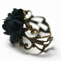 Black Rose Ring  Gothic Steampunk Adjustable by robinhoodcouture