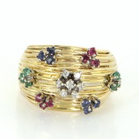 En Tremblant Vintage Flower Ring 14 Karat Gold Diamond Ruby Emerald Sapphire Sz 5