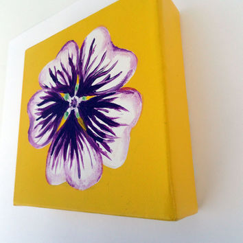 Violet Painsey Acrylic Flower Painting by SamIamArt