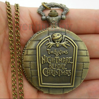 Nightmare Before Christmas Pocket Watch Antique Watch Tim Burton watch; Gift for Him, Gift for Her, Anniversary, Weddings, Groomsman
