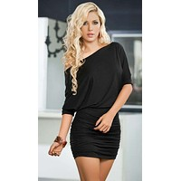 Black Side Drawstrings Loose Fit Dress (Available in Blue & Red)