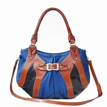 Barchetta Blue and Brown Leather Tote