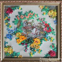 ArtWork For Home Painting Vintage Gift Christmas Flowers Stylish Original Trend 3d Creative Tapestry Embroidery Unframed 13.8x13.8in/35x35cm