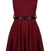 New Ladies Plain Colour Cap Sleeves Skater Dress with Belt Frankie Flare Top (M/L (UK 10-12 US 6-8), Mocha)