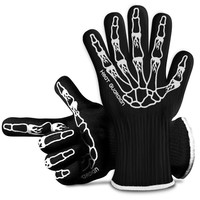 BBQ Grilling Cooking Gloves - Heat Resistant & Silicone Insulated Protection - Smoker and Kitchen Accessories Safety Gloves