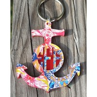 MONOGRAM LAYERED ANCHOR KEYCHAIN IN CIRCLE FONT – FRANCESCA JOY