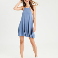 AE Braided Knit Trapeze Dress, Light Blue