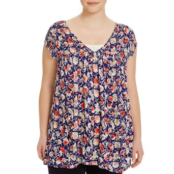 Lucky Brand Womens Plus Printed Peasant Tunic Top