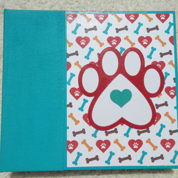 6x6 Teal and Red Dog Scrapbook in Teal Binder