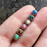 "Opal 14g (Multi-Piercing Compatibility) Tongue Cartilage Scaffold Barbell 14G 5/8"" Barbell Piercing"