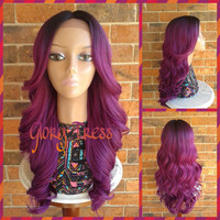 ON SALE // Kim Kardashian Celebrity Hairstyle, Ombre Wig, Long Loose Curly Lace Front Wig // PERFECT1 (Free Shipping)