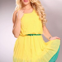Yellow Two Tone Scoop Neck Pleated Ruffle Trim Fashionable Dress @ Amiclubwear sexy dresses,sexy dress,prom dress,summer dress,spring dress,prom gowns,teens dresses,sexy party wear,women's cocktail dresses,ball dresses,sun dresses,trendy dresses,sweater d