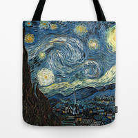 Starry Night by Vincent van Gogh. Famous impressionism  landscape oil painting. Tote Bag by NatureMatters