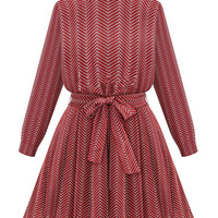 Red Wave Pattern Rayon Tie-Waist Pleated Dress