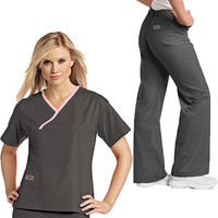 Urbane Women's Urbane Essentials Crossover Solid Top And Boot Cut Pants Scrub Set