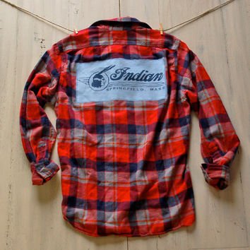 90s Grunge Flannel Shirt Upcycled Flannel Indian Motorcycle Boyfriend Flannel Hipster Indie Gift Ideas for Her  Him Unisex Men's Plaid Shirt