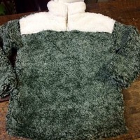 Youth Sherpa Pullover in Sage Green