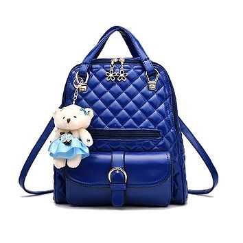 Stylish Plush Backpack with Teddy Bear Charm