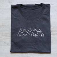 Mountains tee t-shirt shirt adult unisex soft tri-blend vintage graphic design tee hiking shirt heather dark gray