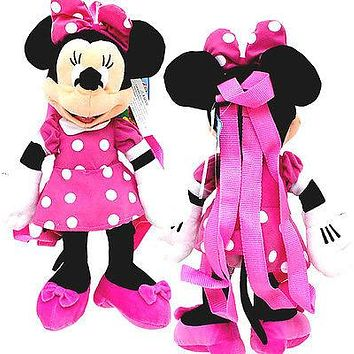 """Walt Disney Minnie Mouse Clubhouse Pink Dress 17"""" Plush Backpack Tote-NEW w/Tags"""