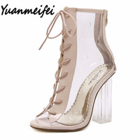 Yuanmeifei summer Peep Toe ankle sandals boots Transparent Cross-tied crystal square heels women's high heels shoes woman pumps