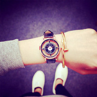Fashion Women Watch Unique Stylish Super Star Double Hollow Design Watches  Lady Casual Quartz Wristwatch Gift Girls Clock