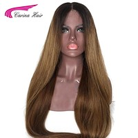 Carina Hair Ombre Color Lace Front Human Hair Wigs with Baby Hair Pre-Plucked Hairline Non Remy Brazilian Hair Glueless Wigs