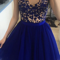 Lace Royal Blue Open Back Homecoming Dress
