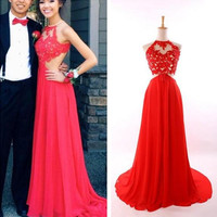 Red Lace Prom Dress, Scoop Chiffon Prom Dresses 2016, Red Evening Dress