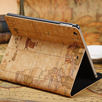 World Map Pattern FlipLeather Case Cover for iPad Mini