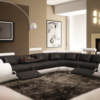 Modern Bonded Leather Sectional Sofa Black and White